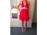 Lipsy VIP embellished prom dress size 8: excellent condition (worn once), vivid coral, handwashable