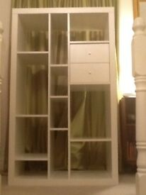 White IKEA display unit/bookcase with 2 drawers