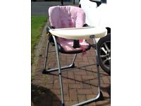 Chicco Pink Girls Highchair
