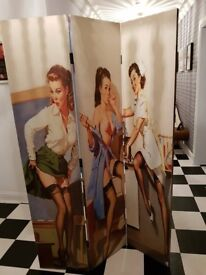 Pin Up Girl Dressing Screen Room Divider