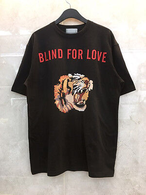 New Tiger Blind For Love Graphic Print Short Sleeve T-Shirts Black