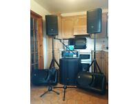 Complete PA System AS NEW. JBL active tops and sub. Remote mixing with IPad Air (inc)