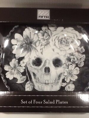 222fifth Marbella Skull Halloween 4 New In Box Salad Plates