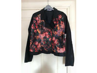 Leather faux floral black ladies jacket - never worn - still has tags on - size large