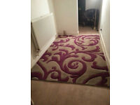 large rug in grey and purple 8 ft x 6 ft