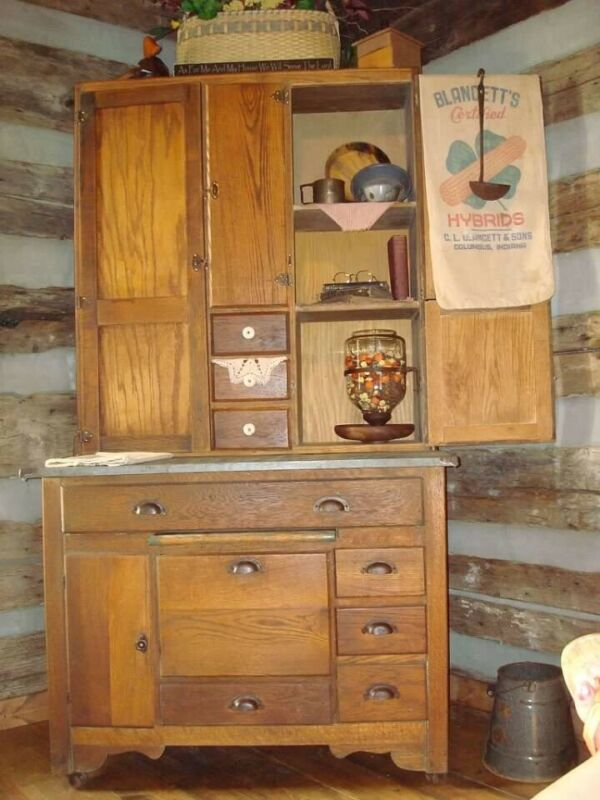 Antique -Hoosier/Baker Cabinet   Early 1900's Oak , Great History! Original