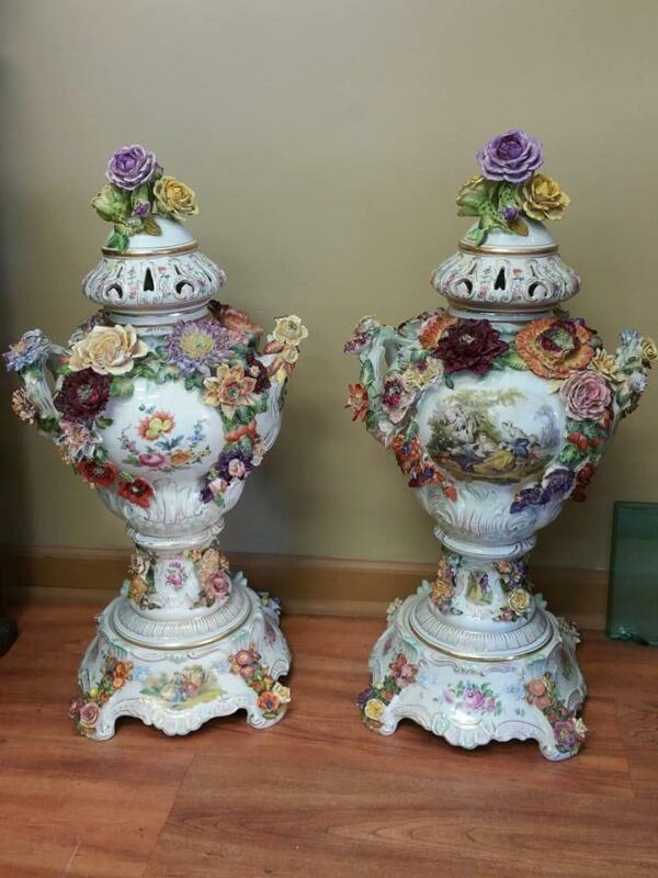 20th Century Large Pair of Dresden Porcelain Urns Vases Beautiful Ornate Flowers