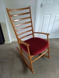 Retro Vintage Mid Century Danish Style Rocking Chair.