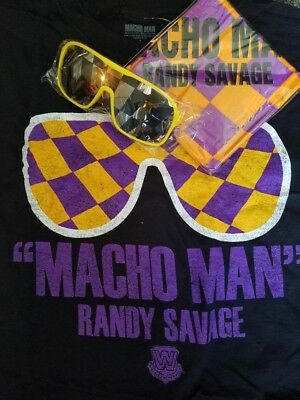 MACHO MAN RANDY SAVAGE WWE T-shirt Bandana Sunglasses Costume Large NEW