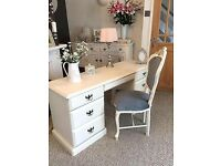 Cream Dressing Table with Ornate Chair