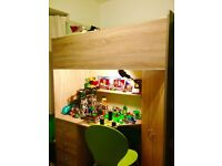 High sleeper cabin bed, with wardrobe and desk Oak style Calder