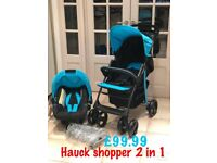 New Hauck shopper shop n drive pram pushchair blue black from birth only £99