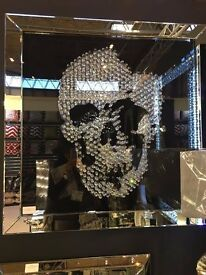 Large 3D mirror skull picture