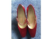 Rainbow red satin shoes size 7