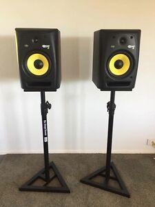 KRK ROKIT 8 studio monitor speakers w/ speaker stands Banora Point Tweed Heads Area Preview