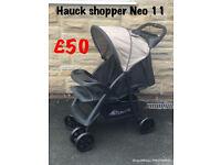 Exdisplay hauck shopper Neo black unisex holiday pushchair pram buggy stroller lays flat from birth