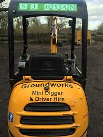 Mini digger with Driver