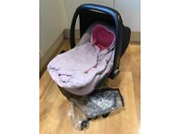 Maxi-Cosi Pebble 'Marble Pink' car seat with matching footmuff and raincover