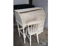 Pine shabby chic roll top desk unit dresser sideboard