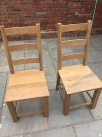 Pair of Good Quality Oak Dining Chairs
