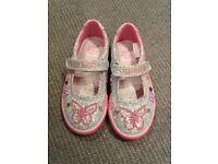 Lelli Kelly Butterfly Silver Glitter shoes, size EU 27