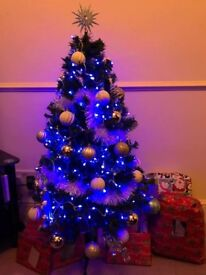4ft Christmas Tree with Blue & White Decorations and Lights