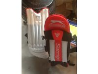 Youth cricket shin pads and gloves