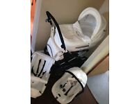 Beautiful white leather 3in1 travel system