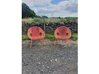 Nordic Spring 2 Chairs Set - Pink & Orange