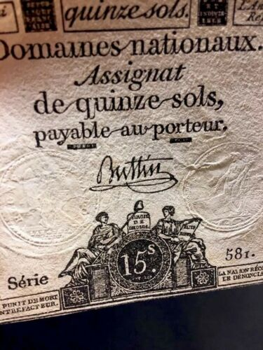 FRENCH REVOLUTION MONEY 1793   historical banknote collectible