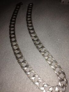 Silver Dimond cut Cuban link chain