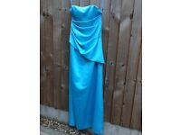Floor length size 10 turquoise satin prom dress with diamant�� decoration and matching pashmina