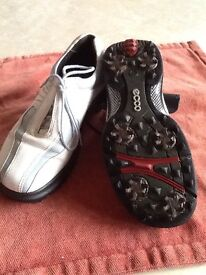 Ladies ECCO golf shoes, size 5.5 Blue and white. Used but in good condition.