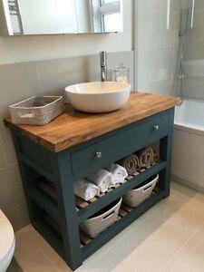 Handmade Solid Oak Vanity Unit-Washstand-Bathroom Furniture-Bespoke-Rustic