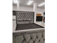 🎆💖🎆SAME DAY DELIVERY🎆💖🎆BRAND NEW PLUSH VELVET FABRIC HEAVEN DOUBLE BED FRAME GREY COLOR