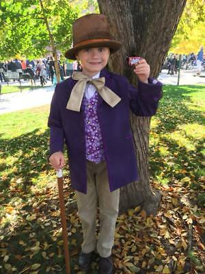 Handmade Willy Wonka Halloween Costume Outfit Jacket Vest - Willy Wonka Hat