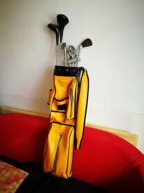 A vintage '70s set of golf clubs with the original bag