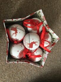 Sass and Belle Luxury Nordic Christmas 12 Bauble Box set - Red & white Reindeer.
