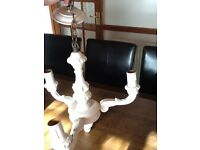 Vintage wood 3 arm chandelier and pair of wall lights