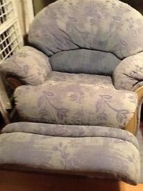 1 x armchair 1 x recliner / swivel armchair.