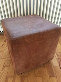 Brown Suedette Pouffe or Foot Stool