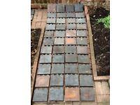 Reclaimed Victorian antique '3 hump' blue clay garden edging tiles