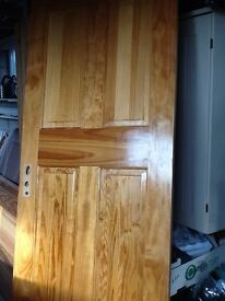 3solid pine doors with hinges and handles good condition