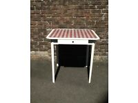 IKEA Small White Glass Top Kitchen Table With Two Draws Either Side