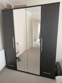 4-Door, 2-Drawer Mirror Wardrobe