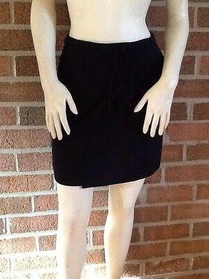 - NWT ANN TAYLOR All-Season MINI SKIRT Black Cotton/Rayon Blend Mock Wrap $98 4P!!