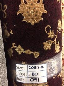 Maroon Patterned Carpet Remnant (2.05 x 4.00 metres) for £80 - REF: 91