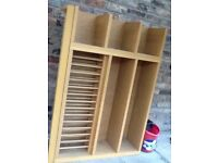 Plate rack with extra shelves for books and spices