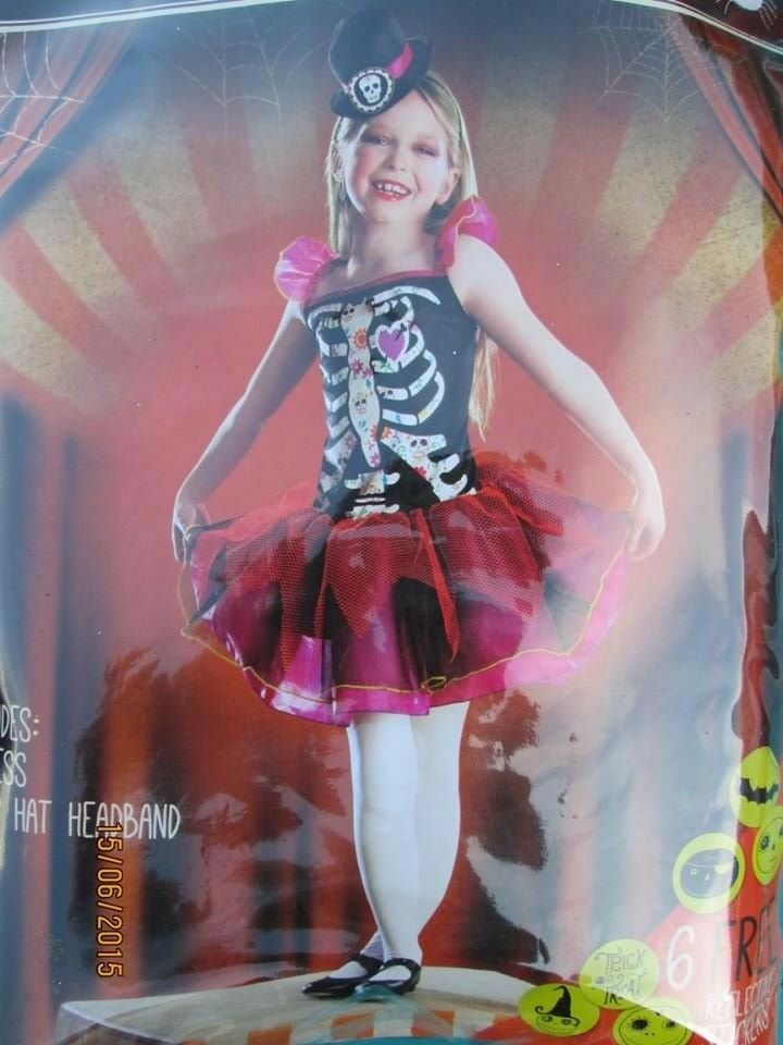 DAY OF THE DEAD GIRLS FANCY DRESS OUTFIT AGE 7 / 8 YEARS HALLOWEEN PARTY