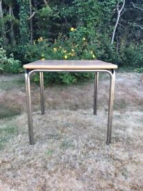 Metal chrome/steel and Formica industrial style dining/canteen/occasional table/desk